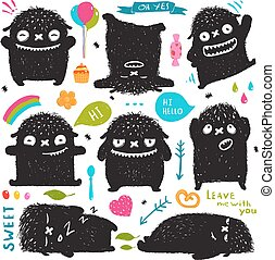 Funny Cute Little Black Monster Holiday Clip Art Collection...