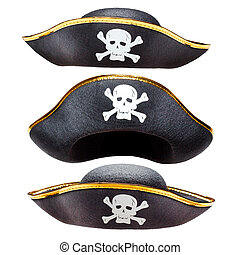 Pirate hat isolated - Pirate fancy dress hat with Jolly...