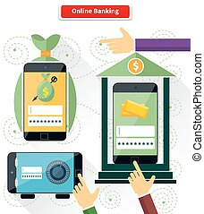 Online Banking Flat Style Design - Online banking flat style...