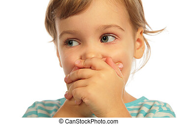 Llittle girl closed a mouth by hands