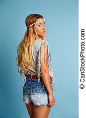 Blond long hair girl with jeans shorts summer look - Blond...