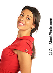 Woman in red dress half-turn smiling.
