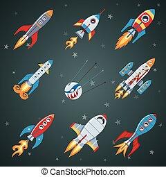 Rockets Flat Icon Set On Black Background