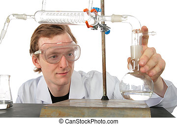 Chemist does experiment