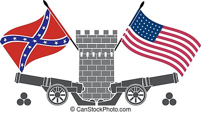 american civil war. stencil. eighth variant. vector...