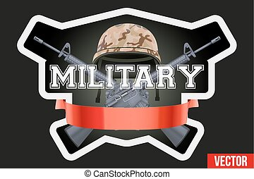 Military club or company badges and labels logo. Helmet and...