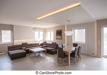 Cosy salon with dining set