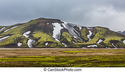 Landmannalaugar unbelievable colorful landscape and river,...