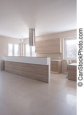 Spacious light contemporary kitchen - Photo of spacious...