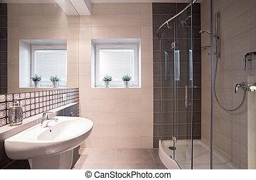 Fancy bathroom with big shower - Image of fancy black and...