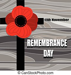 Remembrance Day - Cross with Poppy flower silhouette on...
