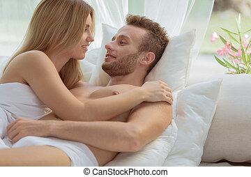 Romantic moments on beach - Couple in love having romantic...