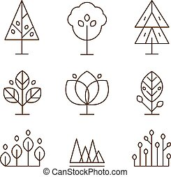 Plants and Trees Icons Set Linear Style - Trees and plants...