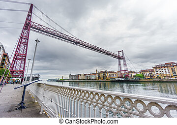 Wide angle view of the Bizkaia suspension bridge - Wide view...