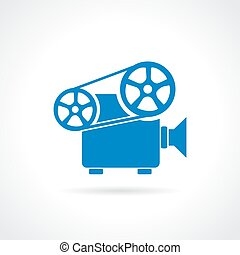 Retro cinema projector icon on white background