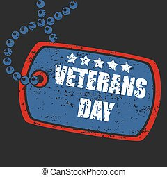 Military dog tag stamp of veterans - Vector Illustration Of...