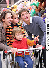 Parents with children in shop
