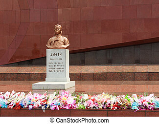 Bust on the grave of Kim Jong Suk - Cemetery of...