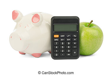 Fresh green apple with calculator and piggy bank