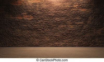 Rock wall background with ground brown - surface of the rock...
