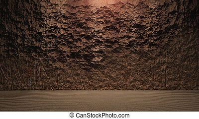 Rock wall background with ground cracked - surface of the...