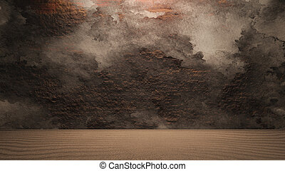 Rock wall background with ground dirty - surface of the rock...