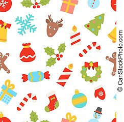 Seamless Pattern with Christmas Traditional Symbols