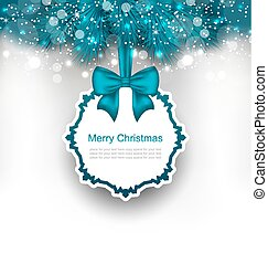 Christmas Greeting Card with Bow Ribbon