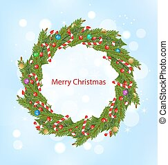 Christmas Wreath, New Year Decoration - Illustration...