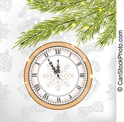 New Year Midnight Background with Clock