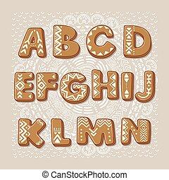 Christmas cookie alphabet. Vector font - Gingerbread...