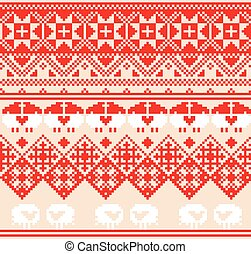 Winter red seamless pattern with sheep Pixel design...