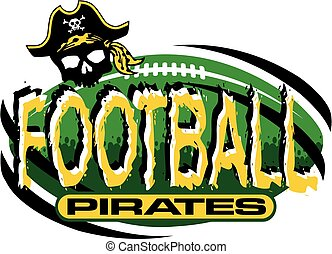 pirates football team design with football and pirate skull