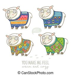 Vector new year card with cute sheep in knitted sweaters