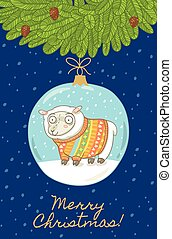 Christmas card with ball and sheep