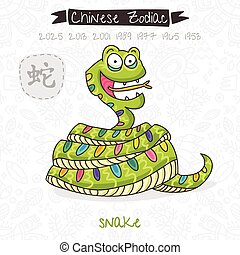 Chinese Zodiac. Sign Snake. Vector illustration