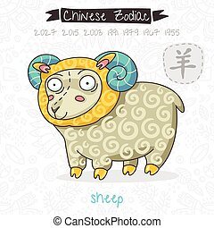 Chinese Zodiac. Sign Sheep. Vector illustration