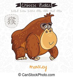 Chinese Zodiac. Sign Monkey. Vector illustration