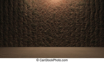 Rock wall background with ground structure - surface of the...