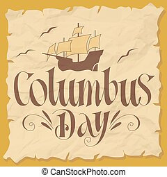 Happy Columbus Day - Columbus Day Vector Illustration Hand...