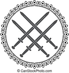 viking symbol with swords. vector illustration