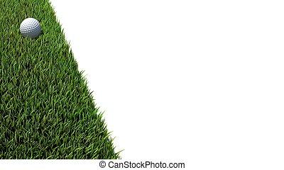 golf ball on green 01 - golf ball on green grass 3D render
