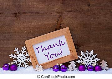 agradecer, púrpura, decoración, nieve, usted, navidad