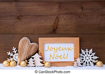Golden Decoration, Snow, Joyeux Noel Mean Merry Christmas -...