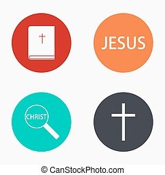 Vector modern religion colorful icons set