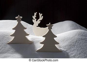 Four White Wooden Christmas Trees, Snow - Two White...