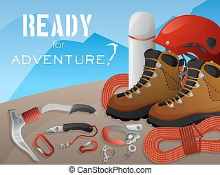 Mountain climbing adventure background banner - Ready for...