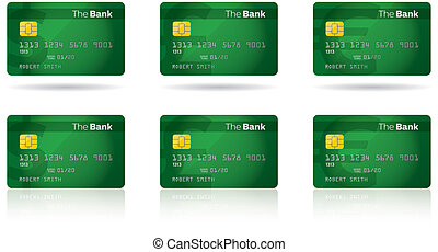 Chip Credit Card - Credit and debit cards with a computer...