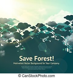 Save Forest Illustration - Eco nature background with save...