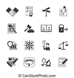 Legal Compliance Icons Set - Legal compliance terms abidance...